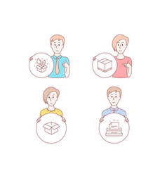 opened box delivery box and creativity icons vector image