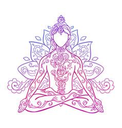 ornamental man in a yoga pose vector image