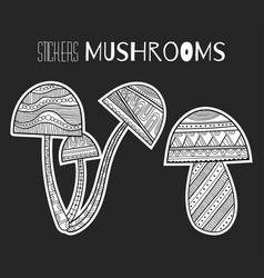 Ornate mushrooms black and white for vector