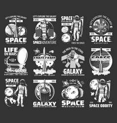 outer space explore monochrome icons set vector image