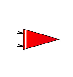 Pennant on white background red flag with white vector