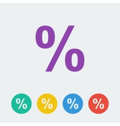 percent flat circle icon vector image