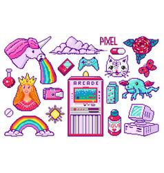 Pixel art 8 bit objects retro digital game assets vector