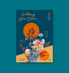 Poster template with autumn flower concept design vector