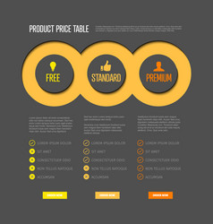 Product price table template vector