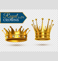 Realistic gold crowns transparent set vector