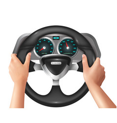 Realistic isolated hands driver in car vector
