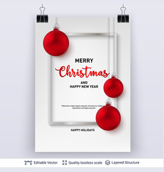 red christmas balls and frame on light background vector image