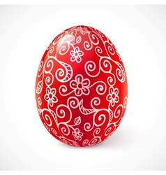 Red ornate traditional Easter egg vector image