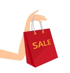 Red shopping bag in womens hand vector