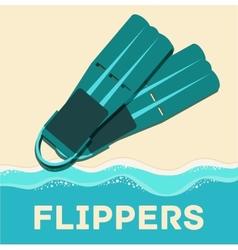 Retro flat diving tools icon concept design vector