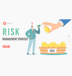Risk management strategy landing page template vector