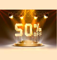 scene golden 50 sale off text banner night sign vector image