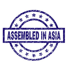scratched textured assembled in asia stamp seal vector image