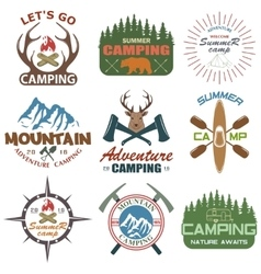 Set camping equipment symbols vector