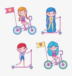 Set girls and boy ride scooter and bicycle vector