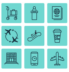 Set of 9 airport icons includes call duration vector