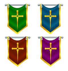 Set of knight flags with sword vector