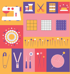 sewing tools and tailor needlework icons vector image