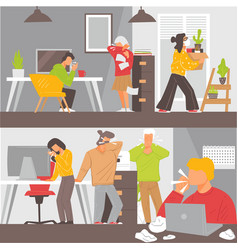 sick employees coughing reopening offices vector image