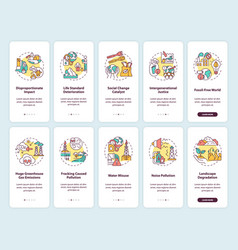 Social change catalyst onboarding mobile app page vector