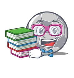 student with book football character cartoon style vector image