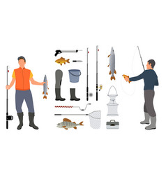 Successful fishers holding haul and fishing tools vector