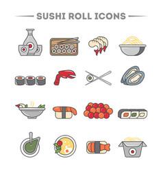 Sushi roll and sashimi icon set vector