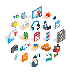 technical support icons set isometric style vector image