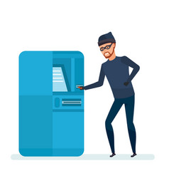 Thief robber hacks software payment terminal vector