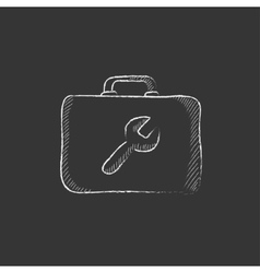 Toolbox drawn in chalk icon vector