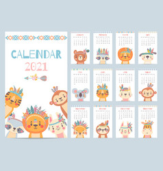 Tribal animal calendar monthly 2021 calendar vector