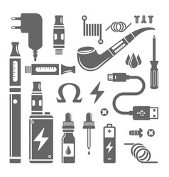 Vape shop and e-cigarette set of icons vector