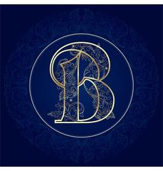 Vintage floral alphabet letter B vector