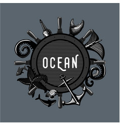 Vintage ocean emblem retro travel lable marine vector