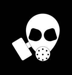 White icon on black background military gas mask vector