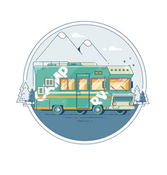 With a retro camper on the background vector