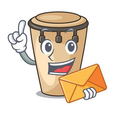 With envelope conga character cartoon style vector