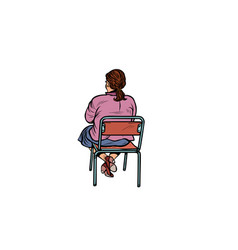 Woman back sitting on a chair vector