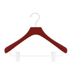 wooden coat hanger clothes hanger on a white vector image