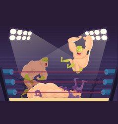 Wrestlers fighting sport cartoon mortal vector