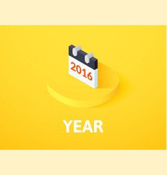Year isometric icon isolated on color background vector