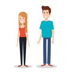 Young couple teen character standing people vector