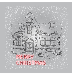 Christmas house with snowflakes on grey vector image