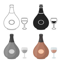 cognac icon in cartoon style isolated on white vector image