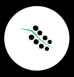 currant fruit simple black and green icon eps10 vector image