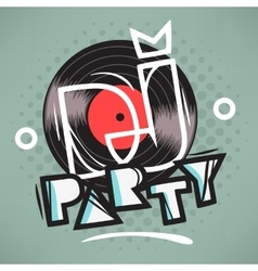 DJ Party Poster Design With Vinyl Record vector image
