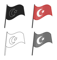 flag of turkey icon in cartoon style isolated on vector image
