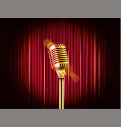 Stage curtains with golden microphone standup vector