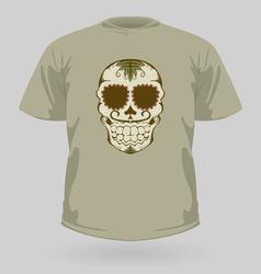 T-shirt with tribal sugar skull vector image